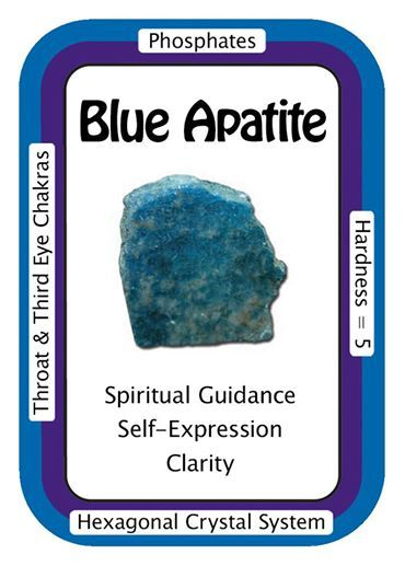 """Crystal Card of the Day: Blue Apatite, """"I see clearly and express myself with ease.""""  Apatite enhances manifestation of ideas to reality and facilitates getting results, and has traditionally been associated with humanitarian efforts and teaching. As a Third-Eye Chakra Crystal, Apatite can initiate or increase the development of psychic abilities, such as clairvoyance and clairaudience. Meditation with an Apatite Crystal on the Third-Eye Chakra can open this chakra up to more subtle…"""