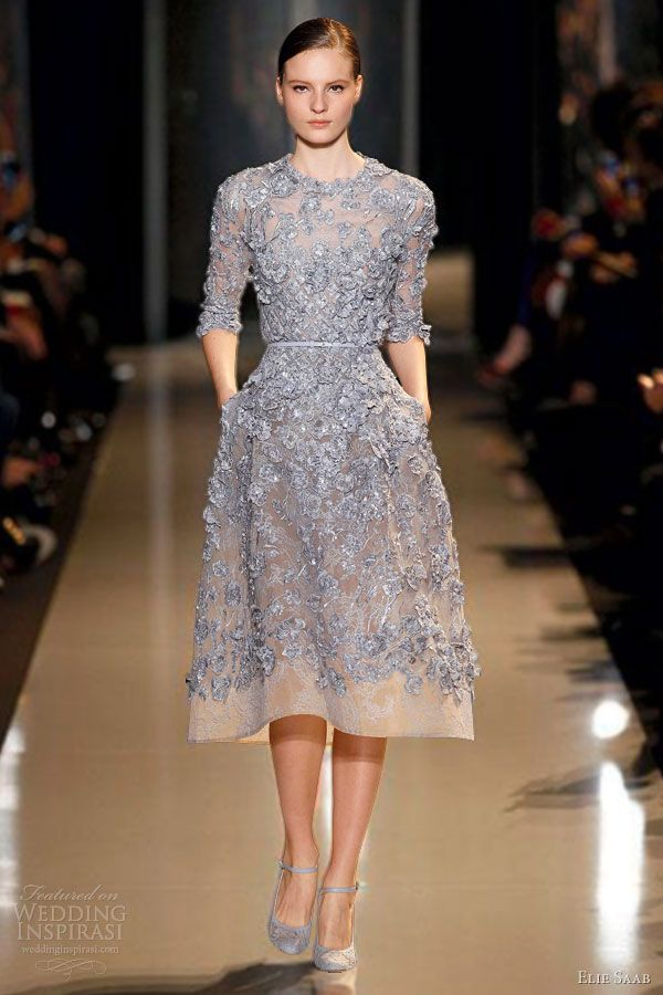 elie saab couture spring summer 2013 lavender blue coccoon embroidered lace short dress sleeves