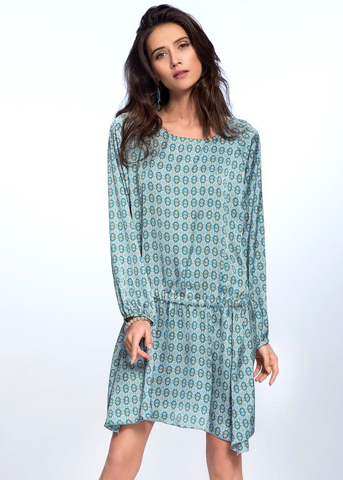 PATTERNED BOHO DRESS €129.00 Etheric, subtle dress, created from the finest quality of Italian fabric, makes the women silhouette look feminine and sensual.