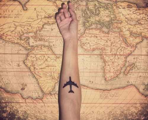 I want an airplane tattoo for my dad. He's a pilot and we travel the world together, so I want to document that forever.