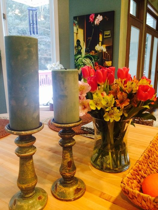 """We were sent this gorgeous photo from one of our customers - Thank you! We love the way that she is using our 6"""" and 9"""" Pillar Candles."""