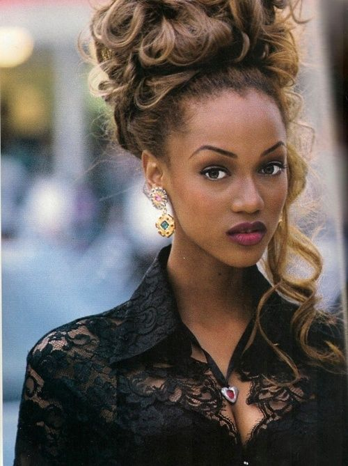 Curly Messy updo of perfection--Tyra Banks, hair