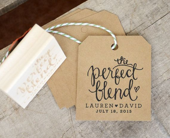 The Perfect Blend Rubber Stamp for Personalized Coffee Wedding Favor Tags or Tea Bags w. Names and Wedding Date for Epsresso Beans