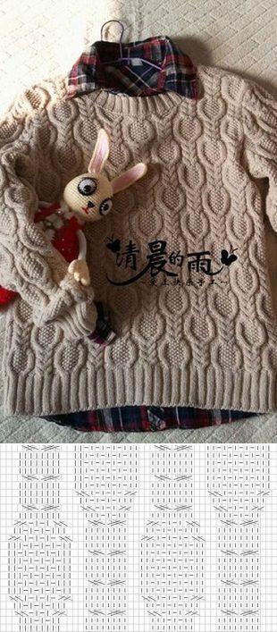 Узор для свитера спицами...♥ Deniz ♥.