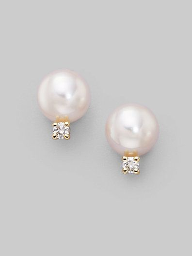 Mikimoto - 6MM White Cultured Pearl, Diamond & 18K Yellow Gold Earrings - Saks.com