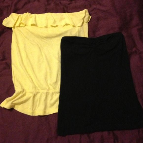 Bundle - yellow & black tube tops Yellow tube top from AE w/ built in cami; hugs right about waist with a little fringe super cute fitting. Black tube top from PacSun w/ built in cami; perfect for layering tops over it. American Eagle Outfitters Tops