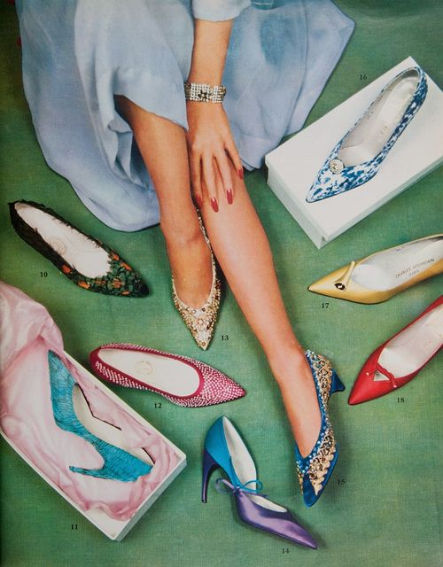 An elegant, vibrant array of late 1950s pointed toe shoes. 1950s fashion