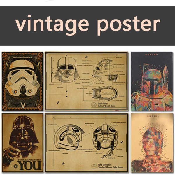 Wall Stickers 1:1Vintage Poster Star Wars kraft paper white soldiers retro nostalgia decorative painting darth vader stormtrooper yoda  42X30CM ** AliExpress Affiliate's Pin.  Clicking on the image will lead you to find similar product