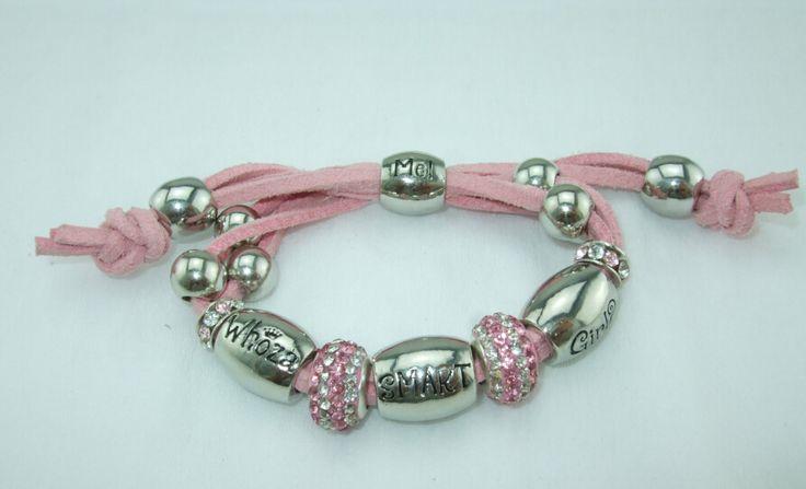 Whoza SMART Girl? Pale Pink Shamballa Bracelet.