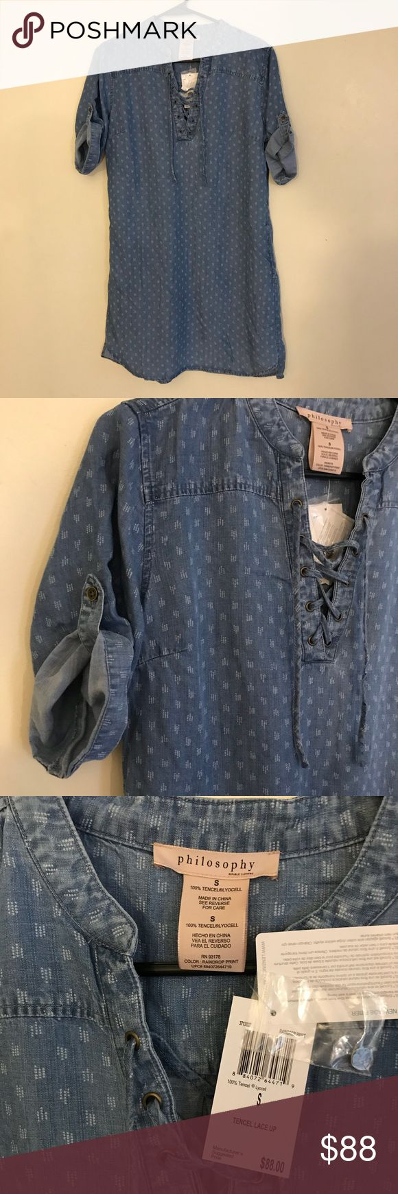 New Philosophy Lace Up Chambray Denim Tunic Dress ⚜️I love receiving offers through the offer button!⚜️ Brand new condition, as seen in pictures! Fast same or next day shipping!📨 Open to offers but I don't negotiate in the comments so please use the offer button😊 Philosophy Dresses