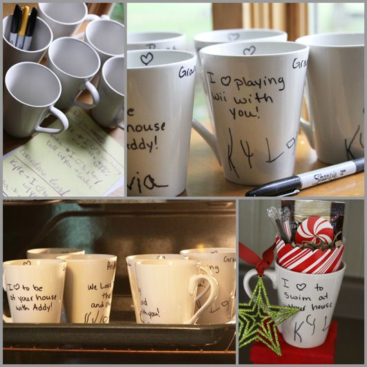 Great Diy Christmas Gift: Dollar Store Mugs + Your Child's Handwriting = A Great