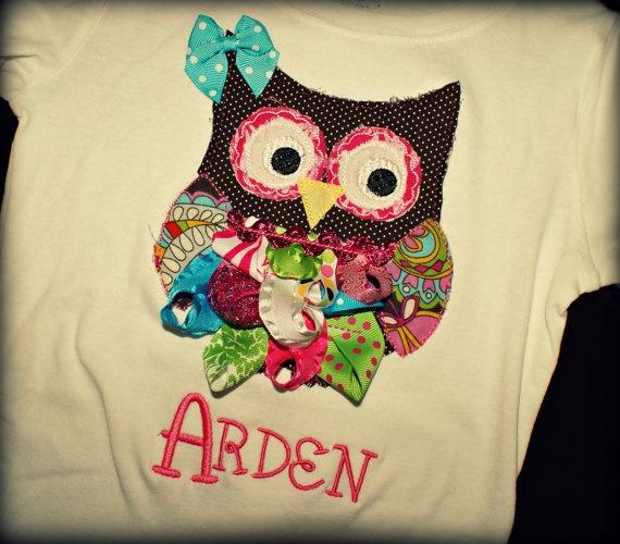 ribbon owl shirt by on etsy
