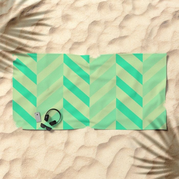 Calm Sea Chevron Beach Towel by REALITY Studios | Society6