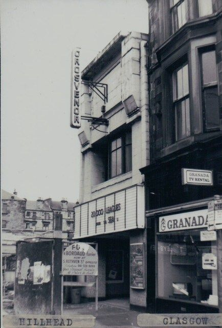 Grosvenor Cinema. this was the orignal entrance via Byres Road, Hillhead, Glasgow. It is now a smaller cinema which is accesible via Ruthven Lane