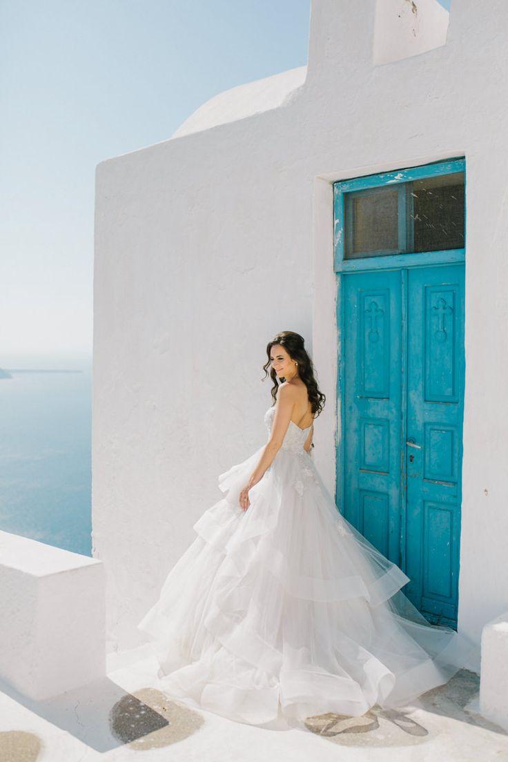 gorgeous bride..with stunning view!...#santorini #wedding #planner #white #island #greece