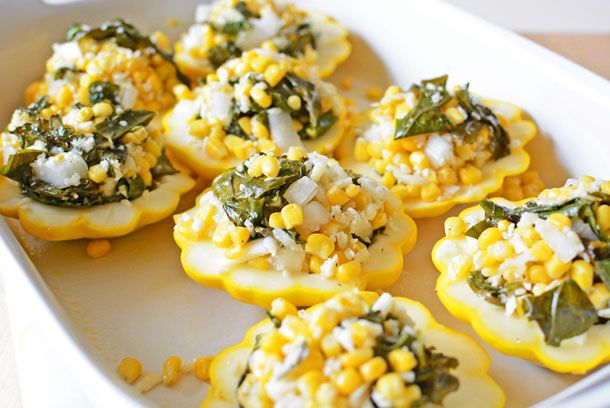 Stuffed Pattypan Squash - Use parmesan from QDoba/Chipotle for the texture half and half no cheese