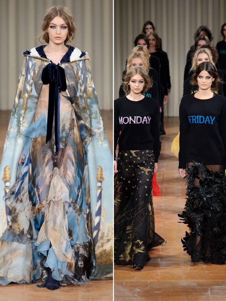 Gigi Hadid hatte auf der Mailänder Modewoche einiges zu tun. Unter anderem lief sie für Alberta Ferretti und durfte beim Final Walk, neben Isabeli Fontana, einen der wunderbaren Wochentags-Pullover tragen. Wir hätten gerne den Friday-Pullover, den Isabeli trägt, falls es euch interessiert...