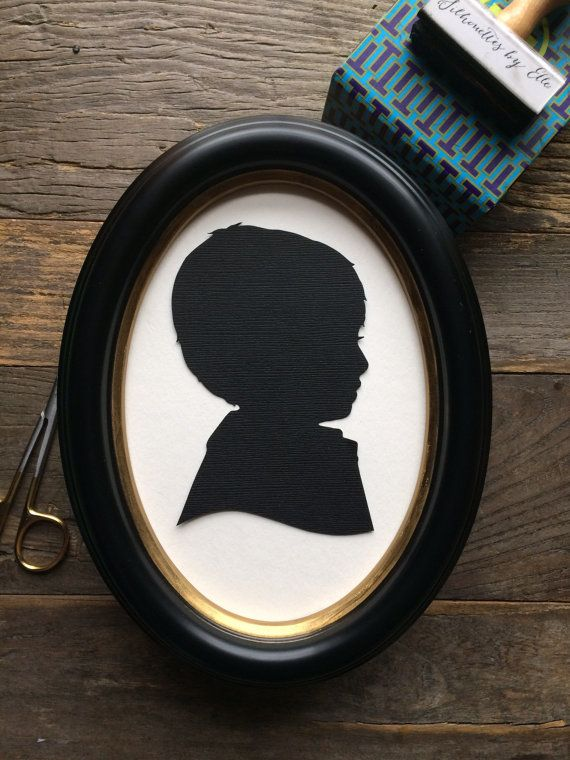 Oval Framed Custom Hand Cut Silhouette : Wall by SilhouettesbyElle