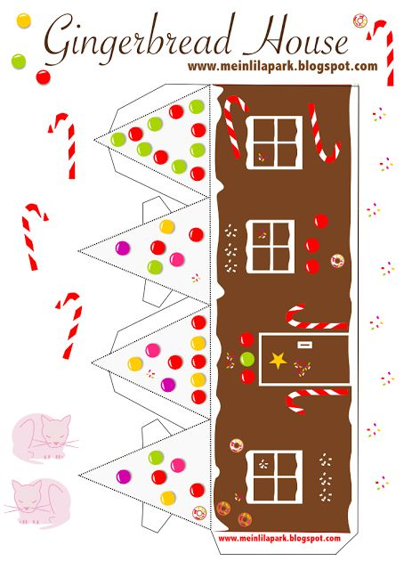 FREE printable gingerbread house No2 / ausdruckbares Lebkuchenhaus #Christmas #paperhouse