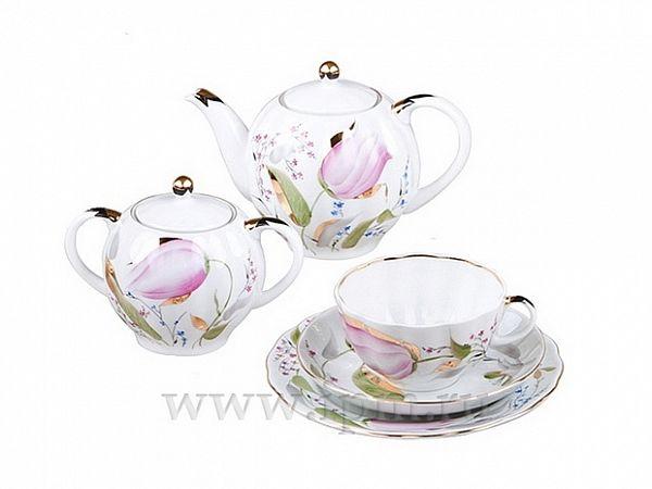Сервиз чайный Тюльпан Розовые тюльпаны, 6 персон 20 предметов, арт. 81.20955.00.1, 8 марта,Тюльпан - Розовые тюльпаны,Сервиз,Розовые тюльпаны,Тюльпан,