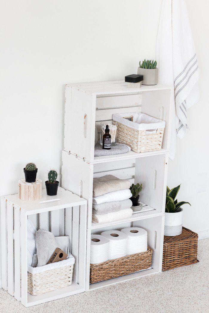 Banos Hermosisimos Decorados Con Cajas Madera In 2020 Wood Crate Furniture Crate Furniture Crate Shelves Bathroom