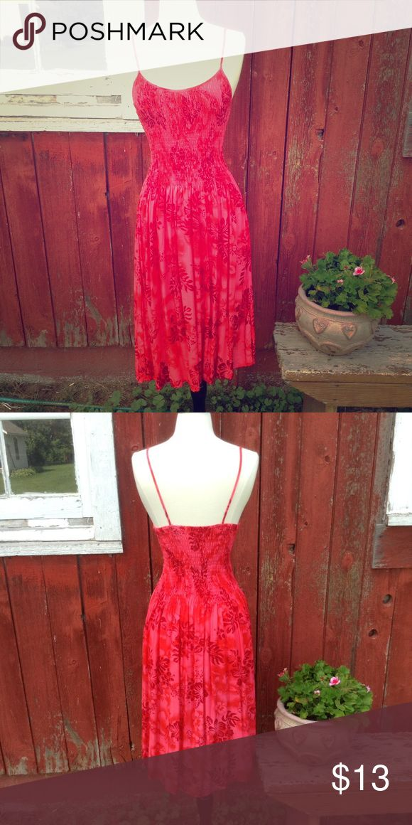 Red and pink Hawaiian floral midi dress Bright dress for summer. Stretchy around bust and waist. Flowy at the bottom. Brand is banana split one size but would best fit S-M Banana Split Dresses Midi