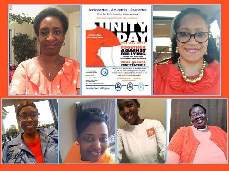 Zeta Amicae of Phenix City, Alabama are wearing ORANGE for National Bullying Prevention - Unity Day 2017. #UnityDay2017 #SCRYouthUnityDay2017 #PhenixCityAmica