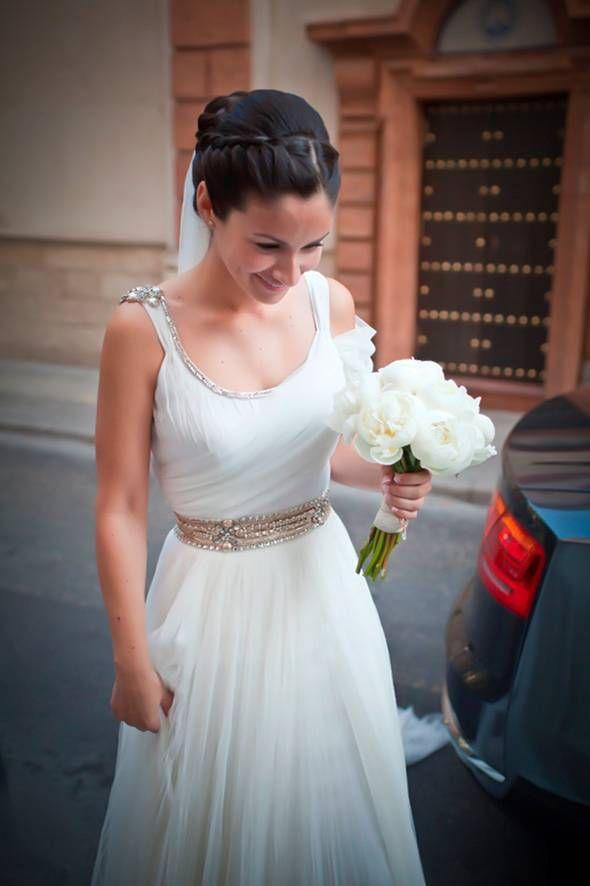 a bride in transit wearing rosa clara