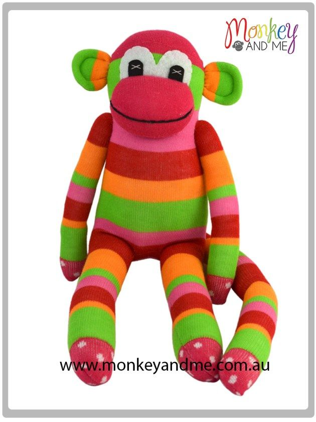 Pinky the Sock Monkey Adopt over at monkeyandme.com.au #sockmonkeys #gifts #toys #monkey