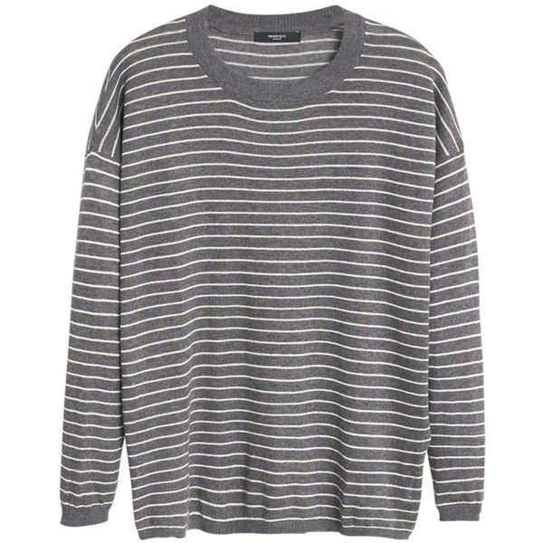 Mango Striped Jumper, Medium Grey found on Polyvore featuring tops, sweaters, 3/4 length sleeve tops, jumpers sweaters, mango sweater, gray sweater and striped sweater