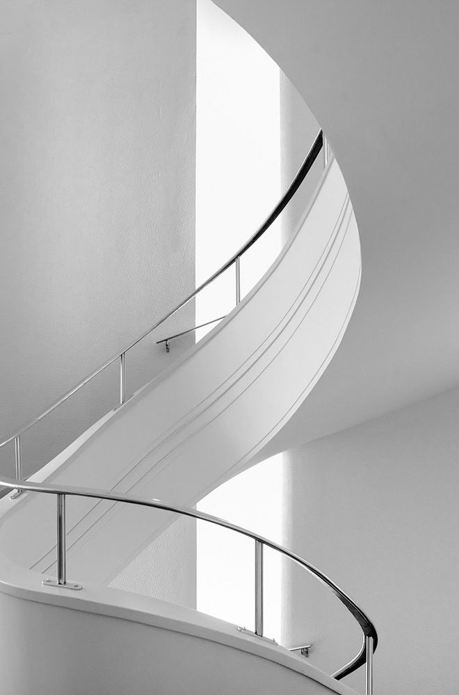 Spirals Staircases, Spirals Stairs, Boxes, Architecture, Art Deco, Stairways, Curves, White Wall, Heavens
