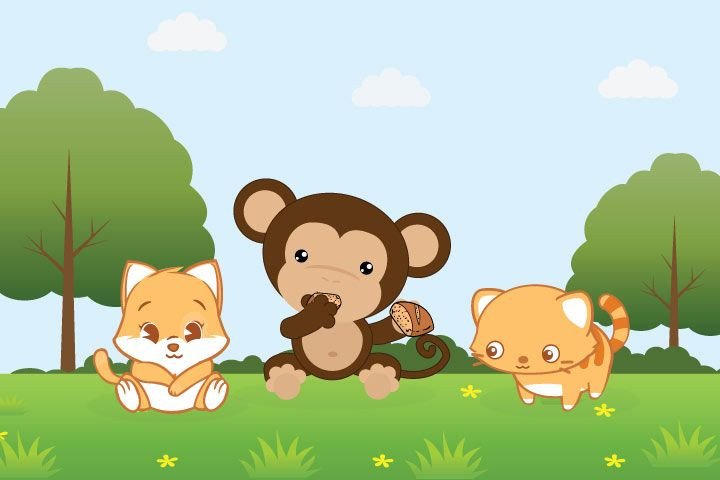 The Clever Monkey And Two Cats