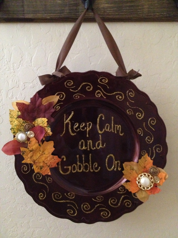 DIY plate charger Gobble sign & 609 best Crafts - Charger Plates images on Pinterest | Charger ...