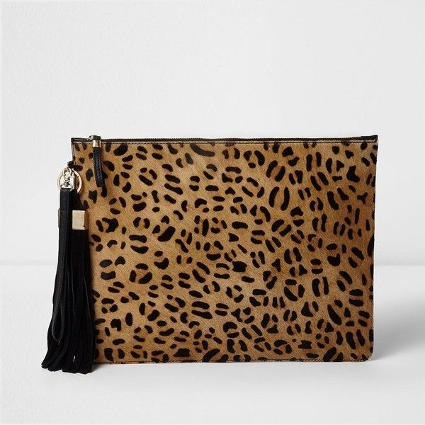 River Island Beige leopard print leather clutch bag ($90) ❤ liked on Polyvore featuring bags, handbags, clutches, bags / purses, beige, clutch bags, women, brown purse, genuine leather handbags and leather man bags