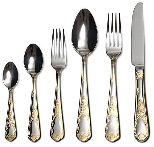 """Venezia Collection """"Provenza"""" 75-Piece Fine Flatware Set, Silverware Cutlery Dining Service for 12, Premium 18/10 Surgical Stainless Steel, 24K Gold-Plated Hostess Serving Set"""