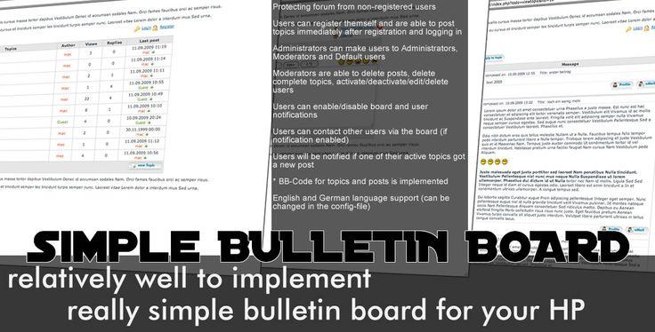 Simple Bulletin Board - простое решение для организации форума или доски объявлений. Нужен форум или доска объявлений? Качай бесплатно.