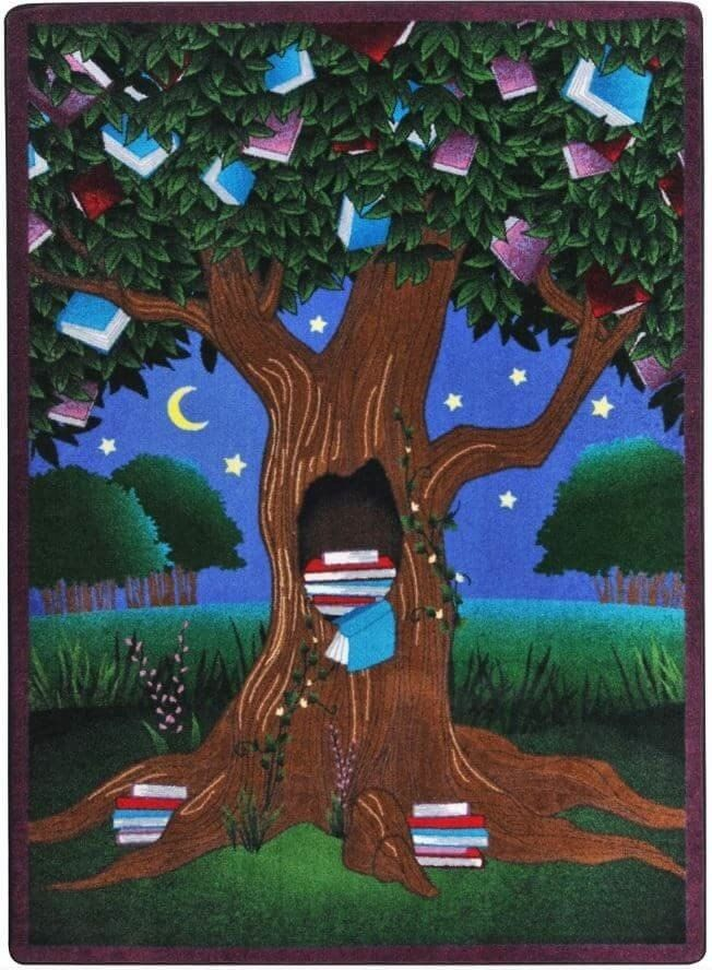 Create a wonderful area in your library or classroom with the Reading Tree Children's Area Rug as the focal point. This commercial quality carpet will stand up to daily use and look great for a long t