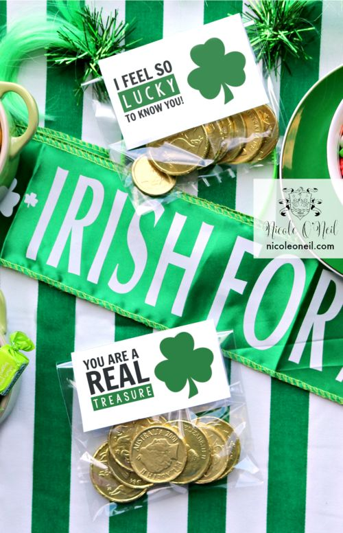 Free DIY Printable St Patrick's Day Treat Bags Template
