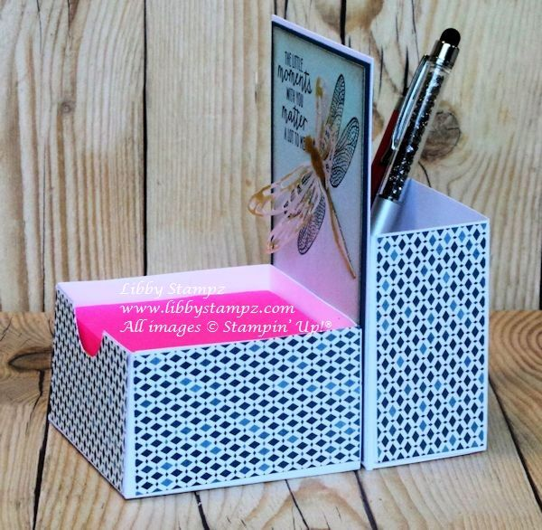 Tip Thursday with Note Box and Pencil Holder (Video). Stampin' Up! products used - Whisper White A4 Thick Cardstock; Moroccan Designer Series Paper; Watercolor Wings Photopolymer Stamp Set; Dragonfly Dream Photopolymer Stamp Set and the Detailed Dragonfly Thinlit Dies; Wink of Stella