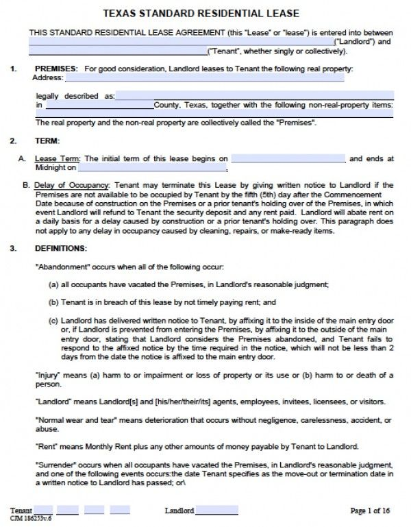 Generic Residential Lease Agreement Printable Sample Residential