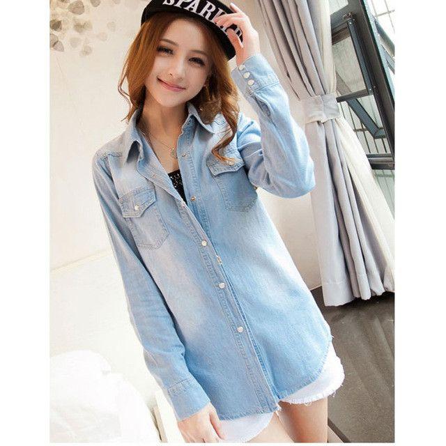New Denim Shirt Women Clothing Jeans Shirt Womens Jeans Blusas Feminina Blouse Turn down collar Fashion hot Pockets