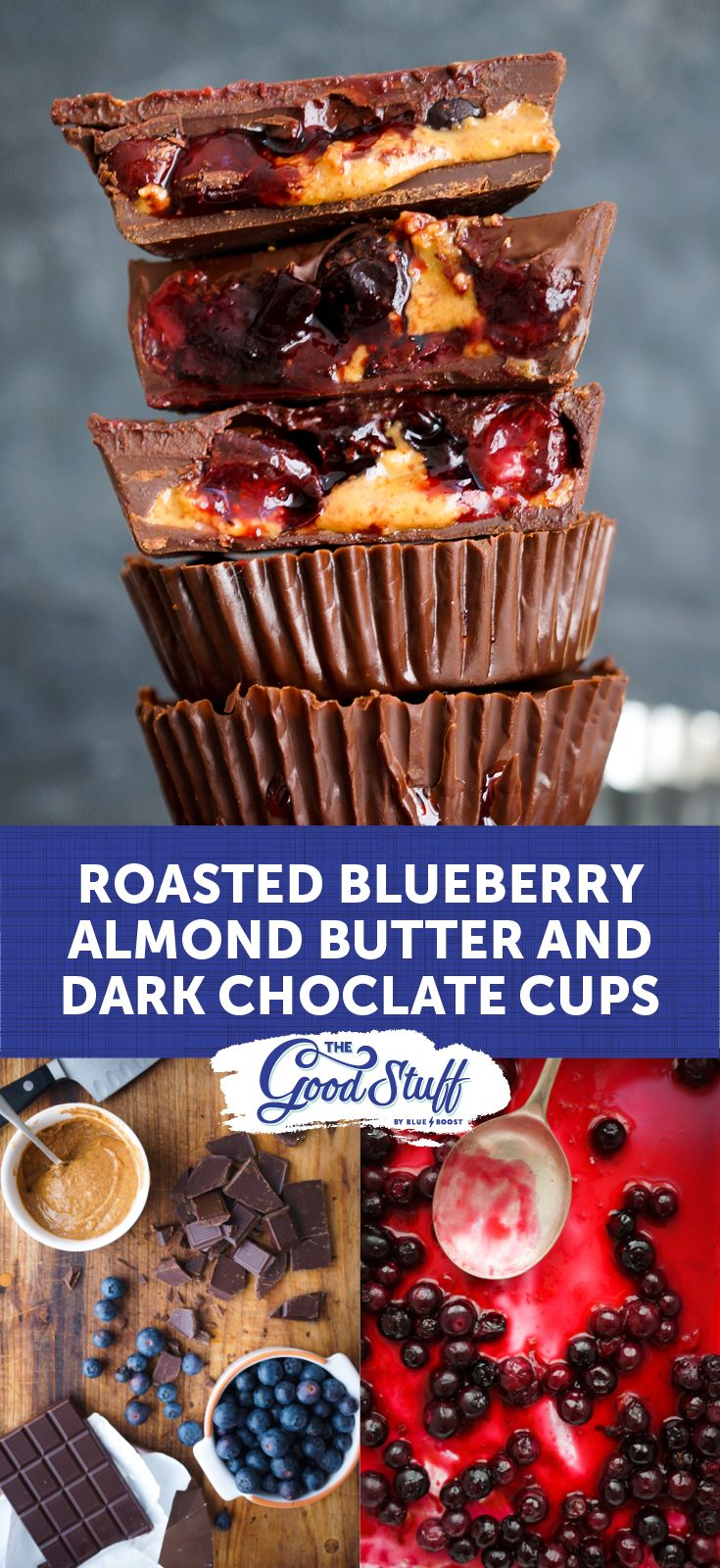 Roasted blueberry, almond butter and dark chocolate cups   These bite-sized treats are pretty much the epitome of deliciousness – sweet, creamy and chocolatey.  #Blueberry #BlueboostSA #AlmondButter #Roasted #Roast #Chocolatecups #Chocolate #Healthy #GoodFood