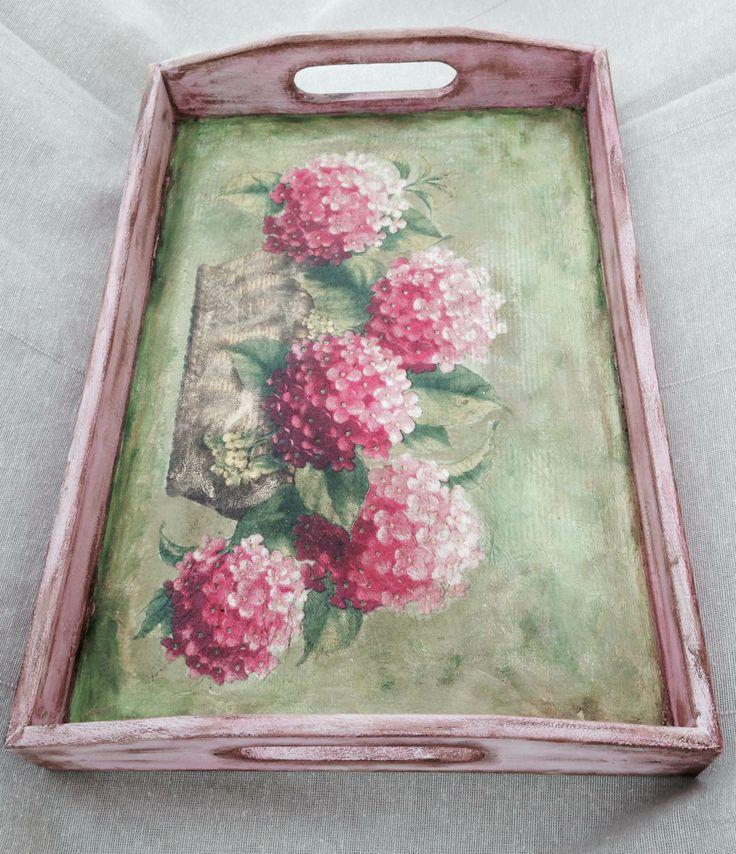 Tavă cu hortensii roz - pentru Maia