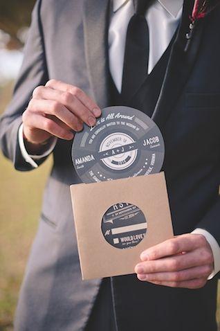 rock shaped retro wedding invitations