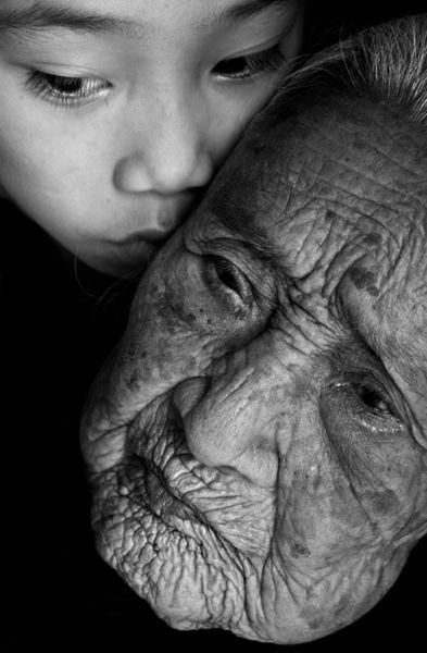 grandma gets a hug -photo by Steven L. Miller