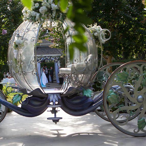 Cinderella's Coach at Disneyland's Rose Court Garden wedding ceremony