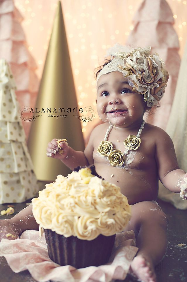 winter ONEland theme for 1st birthday cake smash portrait session. large fabric cone trees. pink & gold! fabulous accessories!!! © Alana Marie Imagery www.alanamarieimagery.com www.facebook.com/AlanaMarieImagery