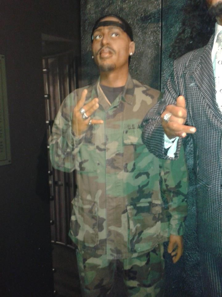 #Rap #legend #Tupac in a military uniform and posing #west #side, #wax #statue.]