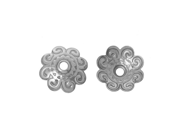 Flower bead caps hypoallergenic stainless steel 10mm