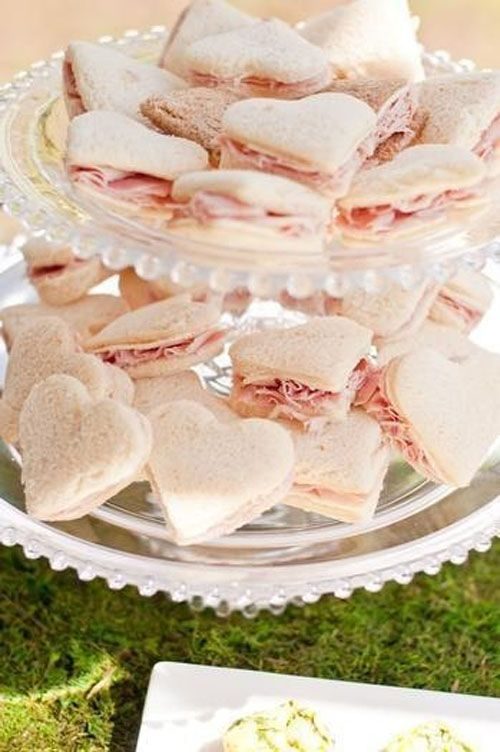 Heart-Shaped Tea Sandwiches. So cute for a Bridal Shower. http://www.womangettingmarried.com/16-fun-ideas-for-bridal-shower-food/